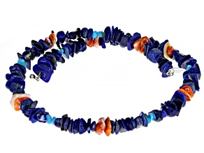 Lapis, Shell, and Sleeping Beauty Turquoise Rhodium Over Silver Necklace
