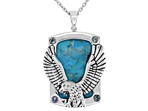 Turquoise and Gray Spinel Rhodium Over Sterling Silver Men's Pendant with Chain