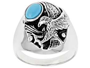 Sleeping Beauty Turquoise Rhodium over Silver Mens Eagle Ring