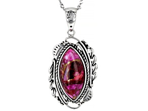 Blended Turquoise and Purple Spiny Oyster Rhodium Over Silver Pendant with Chain