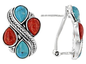 Blue Turquoise and Red Sponge Coral Rhodium Over Silver Earrings