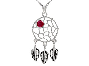 Red Lab Created Ruby Rhodium Over Silver  Birthstone Dreamcatcher Pendant With Chain 0.48ct