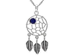 Blue Lab Sapphire Rhodium Over Silver Birthstone Dreamcatcher Pendant 0.51ct