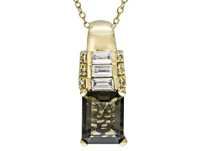 Green Moldavite, White Zircon And Yellow Diamond 18k Gold Over Silver Pendant With Chain 2.16ctw