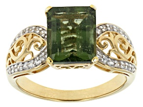 Green Moldavite And White Zircon 18k Yellow Gold Over Sterling Silver Ring. 2.29ctw