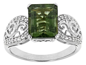 Green Moldavite And White Zircon Platineve Ring. 2.23ctw
