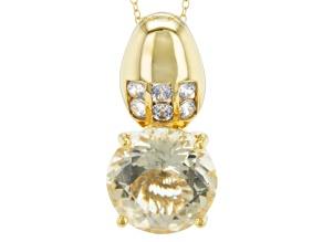 Yellow Labradorite And White Zircon 18k Yellow Gold Over Silver Pendant. 8.14ctw