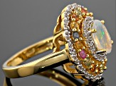 Ethiopian Opal, Multicolor Sapphire And Zircon 18k Yellow Gold Over Sterling Silver Ring 1.95ctw
