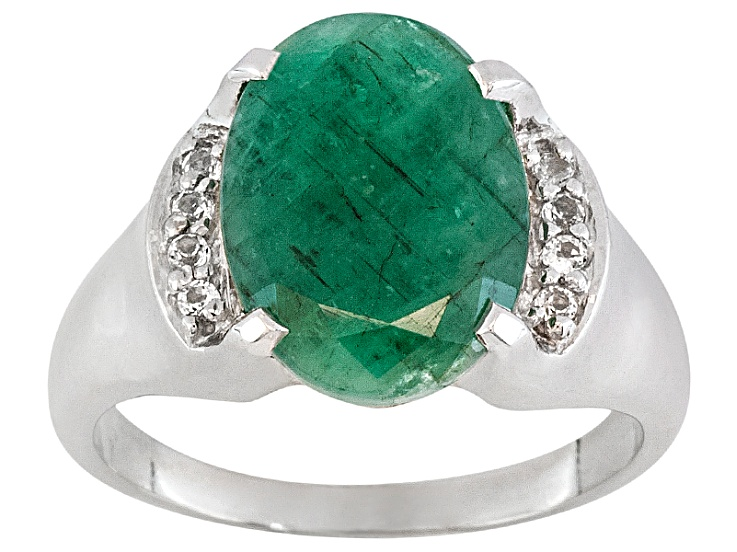 fd8c287b9a23e 5.75ct Oval Sakota Emerald With .16ctw Round White Topaz Sterling Silver  Ring