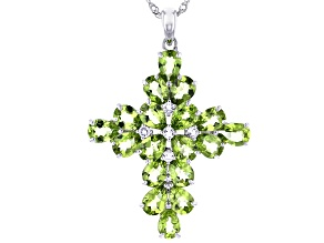 Manchurian Peridot Rhodium Over Sterling Silver Pendant With Chain 13.54ctw