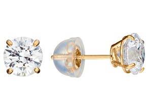 Bella Luce ® 1.00ctw White Cubic Zirconia 10k Yellow Gold Stud Earrings