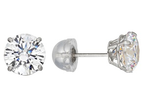 White Cubic Zirconia 10k White Gold Stud Earrings 2.00ctw