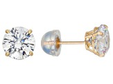 White Cubic Zirconia 10k Yellow Gold Stud Earrings 2.00ctw