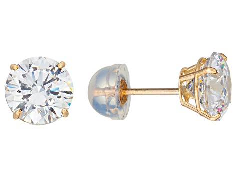 Bella Luce ® 3.00ctw Round White Cubic Zirconia 10k Yellow Gold Stud Earrings