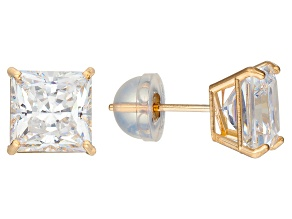 Bella Luce ® 3.00ctw Princess Cut 10k Yellow Gold Stud Earrings