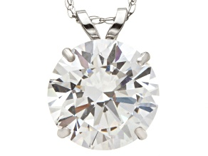 Bella Luce ® 3.00ct Round White Cubic Zirconia 10k White Gold Pendant With 18