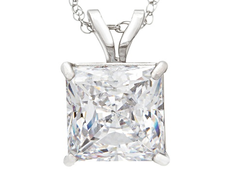 Bella Luce ® 2.00ct Princess Cut White Cubic Zirconia 10k White Gold Pendant With 18