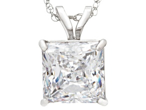 Bella Luce ® 2.00ct Princess Cut White Diamond Simulant 10k White Gold Pendant With 18