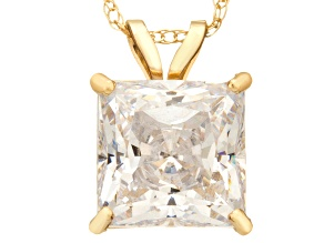 Bella Luce ® 2.00ct Princess Cut White Cubic Zirconia 10k Yellow Gold Pendant With 18