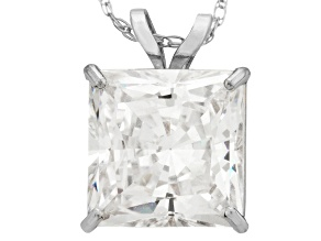 Bella Luce ® 3.00ct Princess Cut White Cubic Zirconia 10k White Gold Pendant With 18