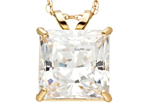 Bella Luce ® 3.00ct Princess Cut White Cubic Zirconia 10k Yellow Gold Pendant With 18