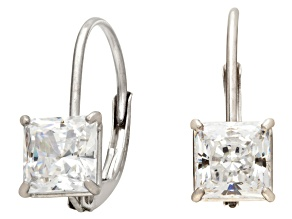 Bella Luce ® 1.00ctw Princess Cut White Cubic Zirconia 10k White Gold Lever Back Earrings