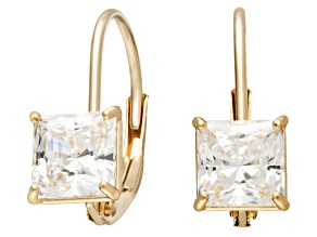 Bella Luce ® 1.00ctw Princess Cut White Cubic Zirconia 10k Yellow Gold Lever Back Earrings