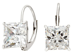 Bella Luce ® 3.00ctw Princess Cut White Cubic Zirconia 10k White Gold Lever Back Earrings