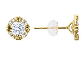 Bella Luce ® 1.01ctw Round White Cubic Zirconia 14k Yellow Gold Earrings