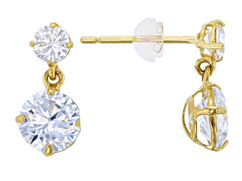Bella Luce ® 1.94ctw Round White Cubic Zirconia 14k Yellow Gold Earrings