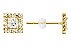 Bella Luce ® 0.88ctw Princess White Cubic Zirconia 14k Yellow Gold Earrings