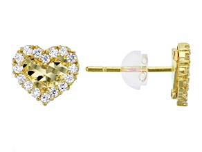 Bella Luce ® .32ctw Round White Cubic Zirconia 14k Yellow Gold Heart Earrings