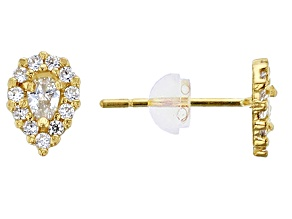White Cubic Zirconia 14k Yellow Gold Earrings .89ctw