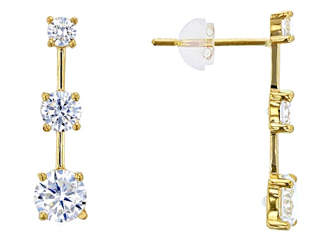 Bella Luce ® 2.00ctw Round White Cubic Zirconia 14k Yellow Gold Earrings