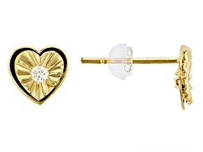 White Cubic Zirconia 14k Yellow Gold Earrings .12ctw