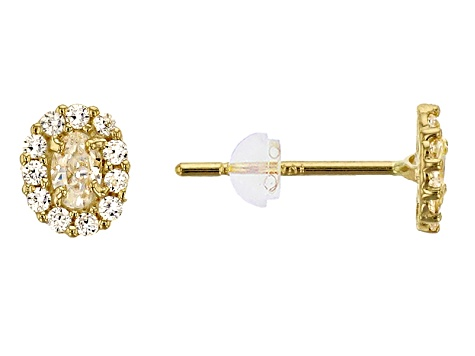 Bella Luce ® 0.49ctw Oval White Cubic Zirconia 14k Yellow Gold Earrings