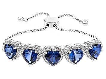 Picture of Blue Lab Created Sapphire And White Zircon Silver Sliding Adjustable Bracelet 15.60ctw