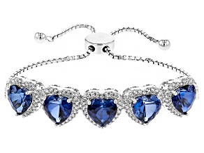Blue Lab Created Sapphire And White Zircon Silver Sliding Adjustable Bracelet 15.60ctw