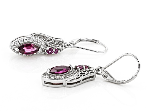 Purple Rhodolite Rhodium Over Sterling Silver Dangle Earrings 1.98ctw