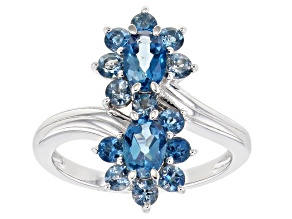 London Blue Topaz Rhodium Over Sterling Silver Bypass Ring 1.95ctw