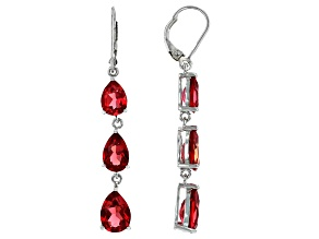 Orange Padparadscha Sapphire Rhodium Over Sterling Silver Dangle Earrings 10.04ctw