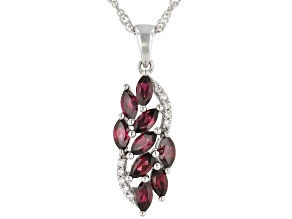 Raspberry Color Rhodolite Rhodium Over Silver Pendant With Chain 1.64ctw