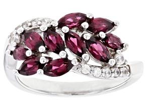Raspberry Color Rhodolite Rhodium Over Silver Ring 1.86ctw