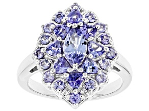 Blue Tanzanite Rhodium Over Sterling Silver Cluster Ring 1.80ctw