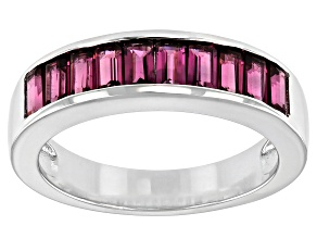 Baguette Raspberry Color Rhodolite Rhodium Over Sterling Silver Band Ring 1.65ctw