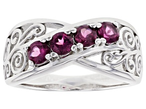 Raspberry Color Rhodolite Rhodium Over Sterling Silver Ring 0.89ctw