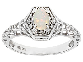Multi-Color Opal Rhodium Over Sterling Silver Ring 0.33ctw