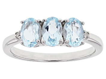 Picture of Sky Blue Topaz Rhodium Over Sterling Silver  Ring 1.43ctw
