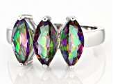 Multicolor Quartz Rhodium Over Sterling Silver 3-Stone Ring 2.92ctw