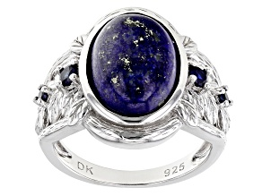 Blue Lapis Lazuli Rhodium Over Sterling Silver Ring .24ctw